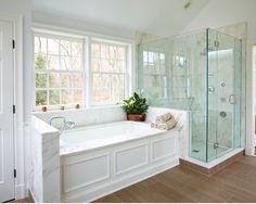 wood paneling around tub