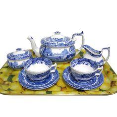 Spode Blue Italian Tea Set