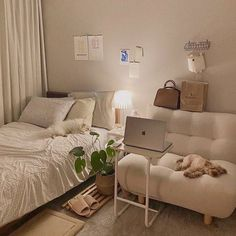 Room Design Bedroom, Room Ideas Bedroom, Home Room Design, Small Room Bedroom, Bedroom Decor, Bedroom With Sofa, Korean Bedroom Ideas, Simple Bedroom Design, Study Room Decor
