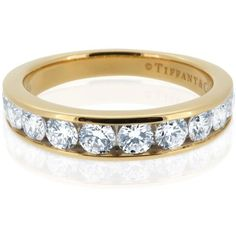 Pre-owned Tiffany & Co.18K Yellow Gold 3.9mm Diamond 0.81ct Wedding... (9.645 BRL) ❤ liked on Polyvore featuring jewelry, rings, diamond rings, preowned wedding rings, yellow gold wedding rings, 18k diamond ring and pre owned diamond rings