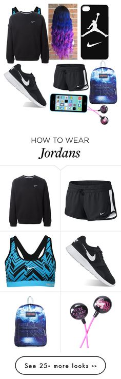 """""""My workout/Run outfit"""" by fluffypunkk on Polyvore featuring NIKE, JanSport and Disney"""