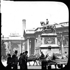 Statue of William III, by Grinling Gibbons, was unveiled on July, The statue was destroyed by an explosion in 1929 Ireland Pictures, Images Of Ireland, Old Pictures, Old Photos, Vintage Photos, Dublin Street, Dublin City, Ireland Homes, Photo Engraving