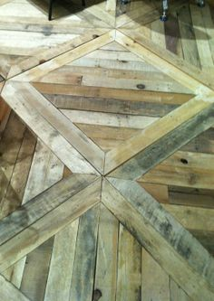 Wood / pallet Floor. Love the pattern! stained dark <3 with white wash walls!