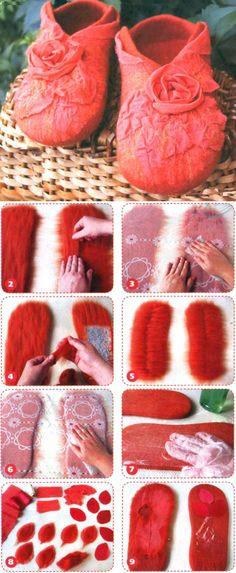 Тапочки с розами. Валяние из шерсти. ~  Slippers - Felting wool.