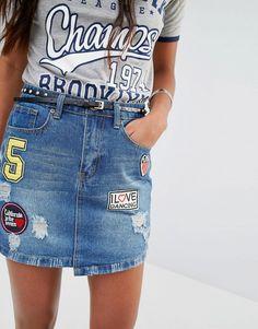 Boohoo Badge Denim Skirt