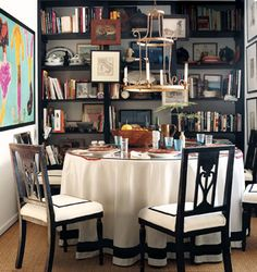 books in the dining room