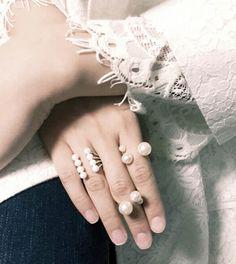 Pearl Stacked Rings #pixiemarket