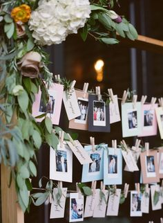 Have your guests take their escort card, and replace it with a polaroid photo of themselves! http://www.stylemepretty.com/colorado-weddings/boulder/2015/12/01/elegant-intimate-al-fresco-colorado-wedding/ | Photography: Laura Murray Photography - http://lauramurrayphotography.com/