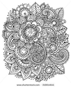 Beautiful Monochrome Vector Floral Pattern In Doodle Style
