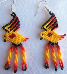 Mexican Huichol Beaded Parrot earrings by Aramara on Etsy