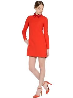 Valentino Nappa Leather Collar On Wool Crepe Dress sur shopstyle.fr