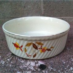 $3.00 Found this at a consignment shop. Looked it up on line. It's a Hall Pottery, orange poppy pattern, 7 1/2 inch 1 1/2 quart casserole, made without a lid. Replacement price is $83.95.
