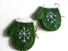 Handmade Christmas Wool Felt Ornament Snowflake on Mitten Set of 2 GREEN. $8.00, via Etsy.