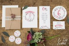 [WEDDING] Heart Aflutter Wedding Suite: Boho Chic Watercolor Flower_partecipazione matrimonio designed by Le Petit Rabbit