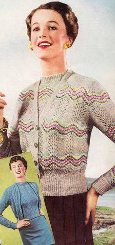 1940s Vintage CHEVRON TWINSET & SCARF Knit от GrannyTakesATrip