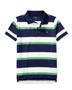 Striped Performance Lisle Polo - Boys 2-7 Short Sleeve - RalphLauren.com Ralph Lauren Style, Ralph Lauren Boys, Boys Clothes Style, Nautical Stripes, Polo Neck, Polo T Shirts, Baby Outfits, Rugby, Neck T Shirt