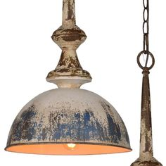 Our Distressed Metal Pendant Light is the perfect rustic add-on to any space. For more pendant lamps and hanging light fixtures visit Antique Farmhouse today! Farmhouse Lighting, Rustic Lighting, Home Lighting, Lighting Ideas, Cottage Lighting, Farmhouse Kitchen Light Fixtures, Outdoor Pendant Lighting, Rustic Light Fixtures, Decorative Lighting