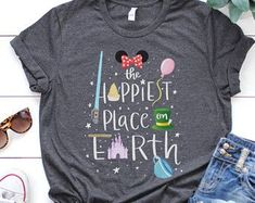 Disney 'The Happiest Place on Earth' Disneyland Disney World Minnie Mouse Inspired Unisex T-Shirt