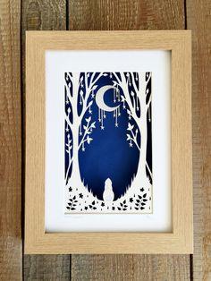 Original framed papercut nursery decor by BluebellCreations14