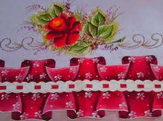 Resultado de imagem para barrado falso para pano de prato Lace Painting, One Stroke Painting, Pintura Com Stencil, Textiles, Stencils, Pasta, Holiday Decor, Pattern, Crafts