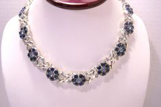 Vintage Blue Rhinestone Flower Necklace N3724 by JewelsAndMyGirls3, $32.00