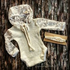 Lace romper with pearls / photo props