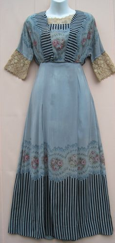 Antique Edwardian 1910 Dusty Blue Silk Day Dress Roses Black Stripes Lace Trim | eBay