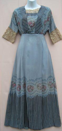 Antique Edwardian 1910 Dusty Blue Silk Day Dress Roses Black Stripes Lace Trim | eBay