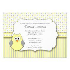 Owl Baby Shower Invite / neutral yellow gray