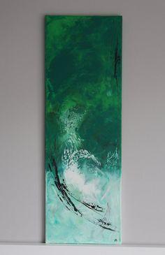 abstraktes Acrylbild Leinwand 30 x 90 cm von paintedfeeelings