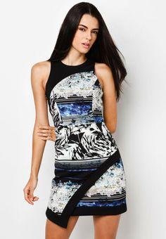 RIVER ISLAND Blue Floral Stripe Print Wrap Bodycon 印花緊身連身裙