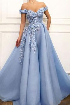 Blue Off Shoulder Flower Appliques A-line Long Modest Beautiful Prom Dresses - Bal de Promo Burgundy Homecoming Dresses, A Line Prom Dresses, Tulle Prom Dress, Beautiful Prom Dresses, Tulle Lace, Wedding Dresses, Awesome Dresses, Bridesmaid Dresses, Quinceanera Dresses