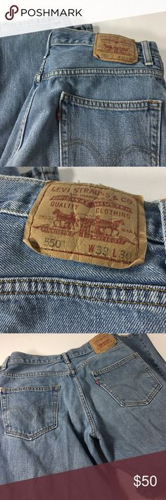 Vintage Levi's 550 W 33 L 30 Relaxed Fit Jeans 100% Cotton.  Made in Lesotho. Please ask questions before purchasing.  Fair Condition.  Worn a lot.  See pictures for more information.  Thank you for shopping by my closet.  Sparkles ✨ and Happy Poshing!  📌Only Fair Offers Considered Levi's Jeans Relaxed