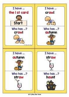 Diphthongs Game: I have, Who has... These Diphthongs AW-AU, OW-OU, OO-OO, OY-OI Games are great for introducing, drilling and/or revising.
