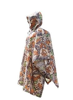 Molumo Outdoor Multifunction Camouflage Rain Poncho Raincoat Waterproof Tarp with Carry Bag for Camping Hiking Climbing Cycling Maple Camouflage *** For more information, visit image link.