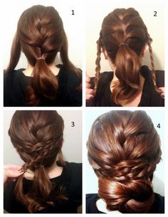 Easy braided updo hairstyle.  I think it would be even prettier with a pony tail instead of a bun.