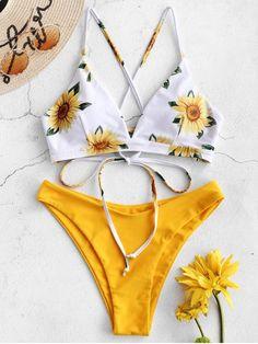 2019 Popular Sunflower Criss Cross Bikini Set swimsuit Style: Fashion Swimwear Type: Bikini Bikini Type: High Cut Bikini Gender: For Women Material: Nylon,Polyester,Spandex Bra Style: Padded Support Type: Wire Free Collar-line: Spaghetti Straps Bikini Jaune, Haut Bikini, Bandeau Bikini, Bikini Swimwear, Tankini, Thong Bikini, Bikini Mom, Retro Swimwear, Swimwear Sale