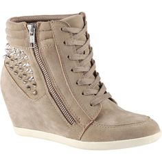 ALDO Abernathy sneakers (1,880 INR) ❤ liked on Polyvore featuring shoes, sneakers, taupe, studded high top sneakers, high heel sneakers, studded wedge sneakers, taupe wedge sneakers and aldo sneakers