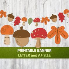Fall Banner, Fall Garland, Fall Paper Crafts, Autumn Crafts For Kids, Winter Craft, Fall Classroom Decorations, Nursery Banner, Kids Activities At Home, Printable Banner Letters