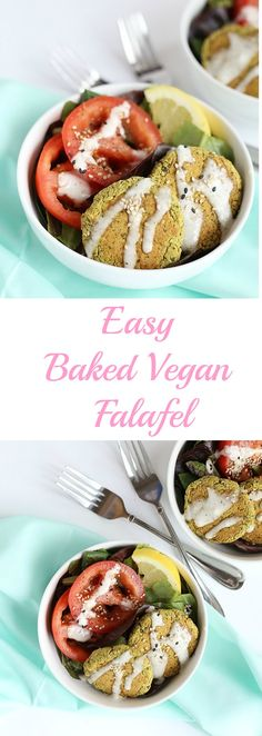 This Easy Baked Vegan Falafel in healthy and oil free! It is quick and easy to make and FULL of parsley and cumin flavor. Vegan and Gluten Free! / TwoRaspberries.com