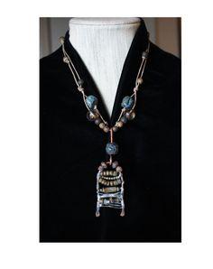 Handmade Spiritual Pendant with Terra Cotta Prayer by BijouxWalla