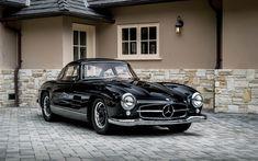 Download wallpapers Mercedes 300SL, classic cars, black retro cabriolet, retro cars, Mercedes
