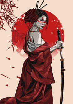 Samurai girl - Famous Last Words Female Samurai Tattoo, Samurai Drawing, Warrior Drawing, Samurai Artwork, Japanese Artwork, Japanese Tattoo Art, Japanese Art Samurai, Japanese Warrior Tattoo, Japanese Sleeve