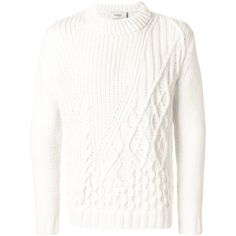 Pringle Of Scotland duo texture jumper (5.260 BRL) ❤ liked on Polyvore featuring men's fashion, men's clothing, men's sweaters, white and mens white sweater