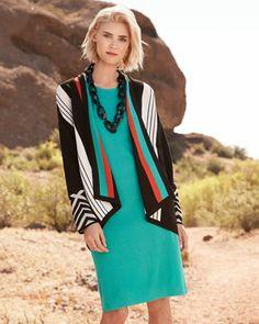 Misook Nina Striped Cardigan & Joan Sleeveless Knit Dress, Women's - Neiman Marcus