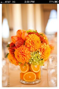 Use Sunflowers with the oranges-----instead---Interesting Orange Wedding Centerpieces