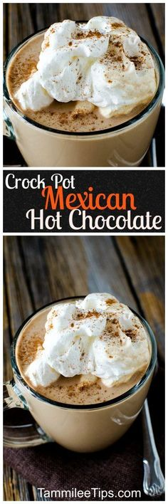 Super easy to make Crock Pot Mexican Hot Chocolate Recipe! Super easy homemade hot chocolate made in the slow cooker the entire family will love! (easy homemade brownies without cocoa) Hot Chocolate Coffee, Mexican Hot Chocolate, Homemade Hot Chocolate, Hot Chocolate Bars, Hot Chocolate Recipes, Chocolate Party, Crockpot Drinks, Cocoa Recipes, Yummy Recipes