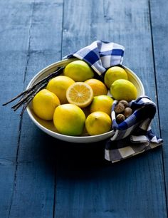 Lemons in a Bow w/ Blue Checked Fabric on Blue Painted Table Lemon Yellow, Lemon Lime, Blue Yellow, Fruit And Veg, Fruits And Veggies, Fresh Fruit, Fruit Photography, Oranges And Lemons, How To Squeeze Lemons