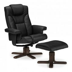 The Malmo Swivel Recliner Chair U0026 Foot Stool £129.99. Rich Dark Wooden Base  And
