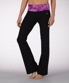 Take a look at this Iris à la Mode Flat-Waist Yoga Pants by Marika on #zulily today!